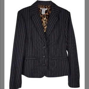 CAbi Pinstriped Leopard Lined Career Blazer!